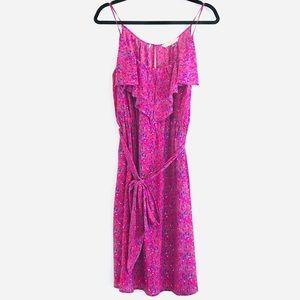 rebecca taylor Floral Silk Ruffle Flounce Dress